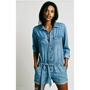 Free People Denim/Chambray Shortall Romper